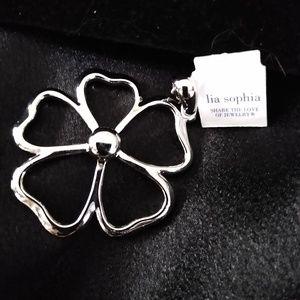 Lia Sophia Silver Flower Pendant